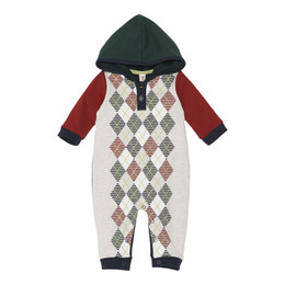 Deux Par Deux Woof Woof Academy French Terry Romper - Oatmeal Mix