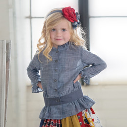 Persnickety Penny Lane Ivy Button Up Top - Chambray (2Y-16Y)