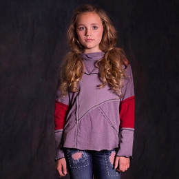 Jak & Peppar Piece It Together Cowl Neck Top - Aubergine