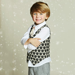 Mustard Pie First Snow Boys Vest - Black Ivory (D3)