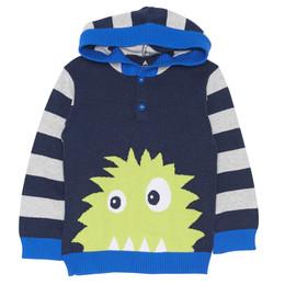 Chapo Pointu Monster of Music Sweater Knit Hoodie - Heather Navy