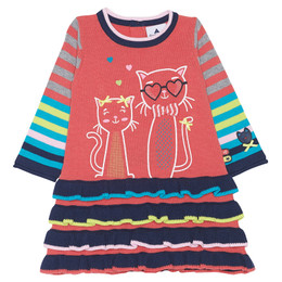 Chapo Pointu Cats in Love Sweater Knit Dress - Coral