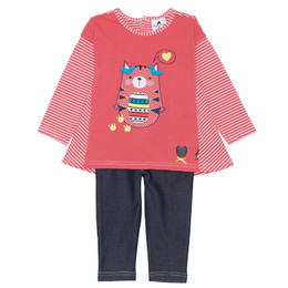 Chapo Pointu Cats in Love 2pc Tunic & Jeggings Set - Coral