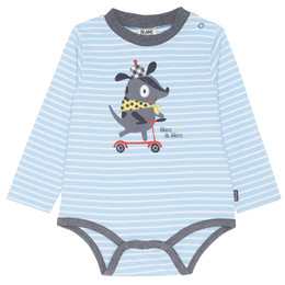 Blanc de Blanc Scooter Puppy Onesie - Blue/White Striped