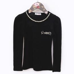 MaeLi Rose Winter Whimsy Pearl Longsleeve Top - Black