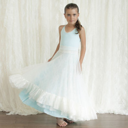 Pixie Girl Southern Belle Dress - Baby Blue & Ivory Lace