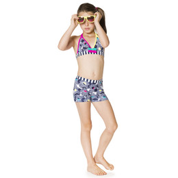 Deux Par Deux Seashells On The Seashore 2pc Boy Shorts Swimsuit - Multi
