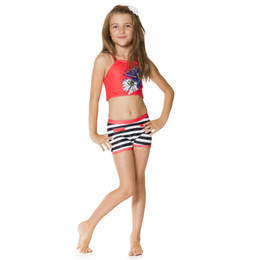 Deux Par Deux Seashells On The Seashore 2pc Tank & Shorts Swimsuit - Hibiscus