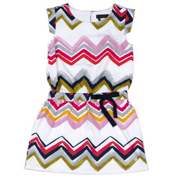 Catimini On The Sunny Beach Spirit Graphic Chevron Jersey Dress - Imprime