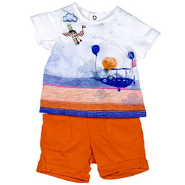 Catimini Enchanted Africa Spirit Couleur Garcon 2pc Shirt & Shorts Set - Blanc
