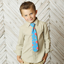 Mustard Pie Rose Garden Boy's Neck Tie - Rose Garden Blue