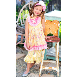 Giggle Moon Light of Life 2pc Set Stella Dress with Ruffle Capri Leggings