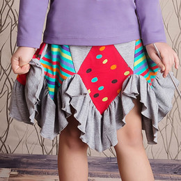 Lemon Loves Lime Somewhere Over The Rainbow Fairy Patch Skirt - Heather Gray