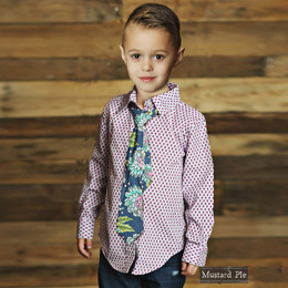 Mustard Pie Emerald Dance Boy's Taylor Button Down - Plum
