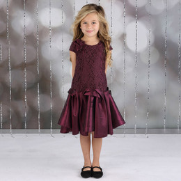 Isobella & Chloe Royal Jewels Drop Waist Dress - Wine