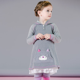 Deux Par Deux Fluffy Friends Hooded Dress - Gray