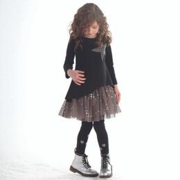 Kate Mack Star Studded Asymmetric Knit Top - Black