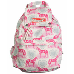 Paper Wings Hearts and Horses Drawstring Backpack - Pink / Blue / Cream