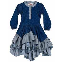 Paper Wings Kitten Stripe Ruffle Dress - Indigo