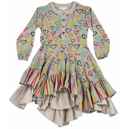 Paper Wings Coloured Hearts Ruffle Dress - Grey