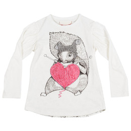 Paper Wings Knitting Squirrel Puff Sleeve Tee - Cream