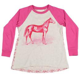 Paper Wings Pink Horse Raglan Tee - Grey / Pink
