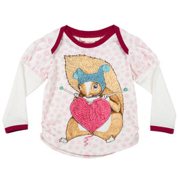 Paper Wings Knitting Squirrel Puff Sleeve Tee - Pink