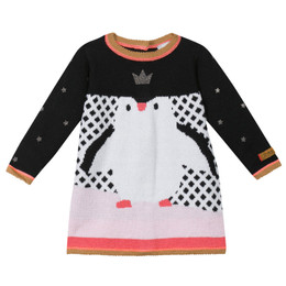 Catimini Queen of the Ice Graphic City Penguin Sweater Knit Dress - Nuit