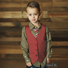 Mustard Pie Harvest Splendor Boy's Vest - Burgundy