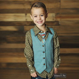 Mustard Pie Harvest Splendor Boy's Vest - Sky Blue