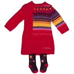 Catimini Spirit Ethnique African Dream Bow Sweater Knit Dress - Geranium