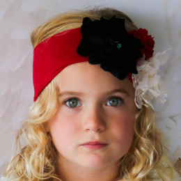 Giggle Moon Pure Gold 3 Flower Knit Headband - Red