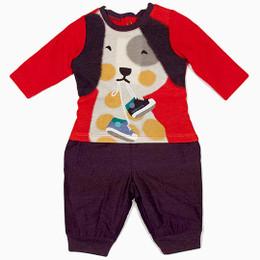 Catimini Spirit Winter Frisson 2pc Jersey Knit Top & Pants - Rouge