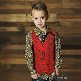 Mustard Pie Enchanted Boy's Vest - Berry Red