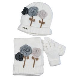 Mayoral 4pc Floral Hat, Scarf, & Gloves Set - Linen