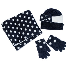 Mayoral 4pc Dotted Hat, Scarf, & Gloves Set - Navy