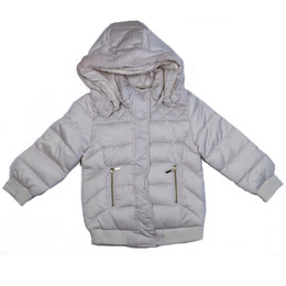 Mayoral Puffer Bomber Coat w/Removable Hood - Pearl