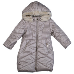 Mayoral Long Quilted Puffer Coat w/Removable Hood - Sand