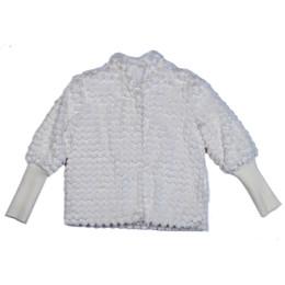 Mayoral Sequin Faux Fur Jacket - Cream