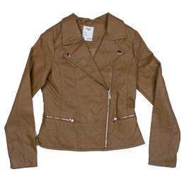 Mayoral Faux Leather Zipper Jacket - Chestnut