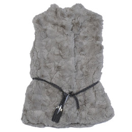 Mayoral Faux Fur Vest w/Braided Belt - Gray