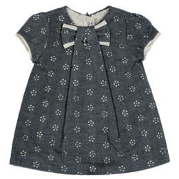 Mayoral Eyelet Flannel Bow Dress - Gray