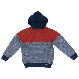 Mayoral Hooded Color Block Sweater - Cherry