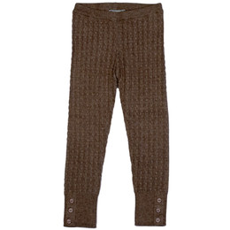 Mayoral Cable Knit Leggings w/Button Accents - Mole