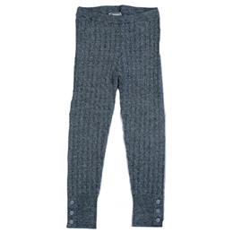 Mayoral Cable Knit Leggings w/Button Accents - Chromium