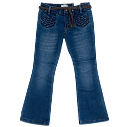 Mayoral Denim Jeans w/Braided Pockets & Belt - Blue
