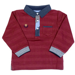 Mayoral Striped Polo Shirt - Bordeaux