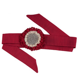 Persnickety Candy Cane Holiday Rosette Belt - Red