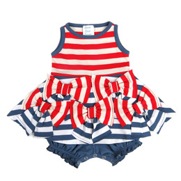 Lemon Loves Lime Layette Bows & Stripes Dress - Red / Indigo