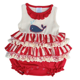 Lemon Loves Lime Layette Whale Splash Bubble - Eggnog / Red